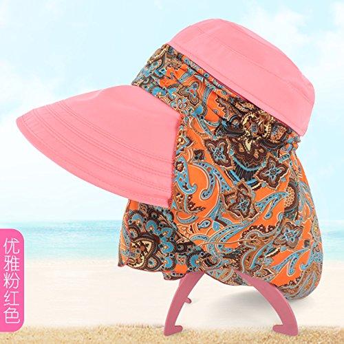 LLZTYM Chapeau/Femelle/Été/Chapeau/Extérieur /// Uv Chapeau De Soleil Crème Solaire/Couvrir Le Visage/Chapeau/Chapeau/Le Long De La Plage Pink H
