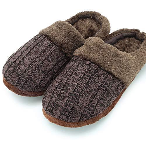 Citycomfort pantofole per uomo e donna in memory foam con pelliccia sintetica ciabatte unisex invernali (5-6 (euro 38-39), cavo a maglia color cioccolato donna)