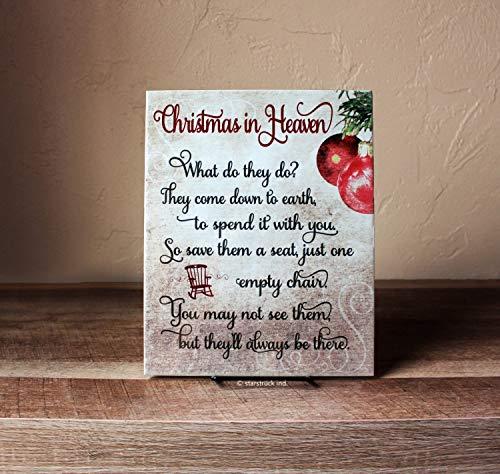 """Schild mit Aufschrift""""Christmas in Heaven"""", 20,3 x 25,4 cm, Gedicht mit Stuhl, What do They Do, Weihnachtsgeschenk in Memory of – Keramikschild – Weihnachtsmembrance Idea"""