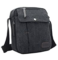 AINISI Mens New Casual Fashion Travel Canvas Messenger Bags Shoulder Bag Crossbody Bag Black