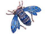 Alilang Rose Copper Tone Sapphire Blue Farbige Strass Käfer Bee Brosche