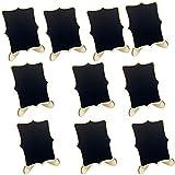 MagiDeal Nuevo 10 Piezas Mini Pizarras de Madera Cuadro Rectángulo con Base de 10 cm
