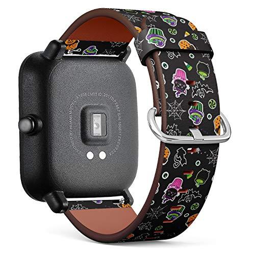 Kompatibel mit Huami Amazfit Bip - Leder-Armband Uhrenarmband Ersatzarmbänder mit Schnellverschluss (Happy Halloween Cupcakes süße Elemente)