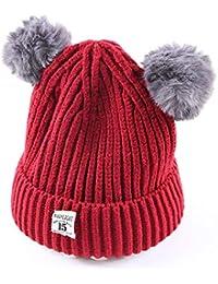 ODJOY-FAN-bambino Doppia palla Hairball Lana Cappello lavorato a maglia  twist caldo- 4718ebee414c