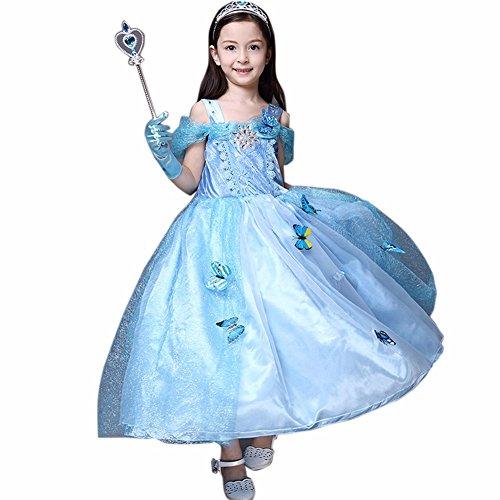 FEESHOW Niñas Princesa De Hadas Princesa Traje Con Botones De Mariposa Cosplay Partido Boda Ball Gown Vestido SZ 4-10 Años Azul 7-8 Años