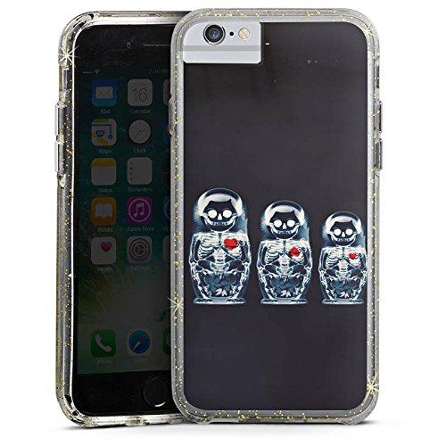 Apple iPhone 7 Bumper Hülle Bumper Case Glitzer Hülle Bones Skull Totenkopf Bumper Case Glitzer gold