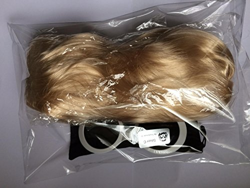 Preisvergleich Produktbild Kurt-Cobain-Perücke und Brille, Nirvana-Kostüm, Grunge, kurze Blonde Haare, hochwertig und weiße Sonnenbrille UV 400, Stil des Songs: Smells Like Teen Spirit