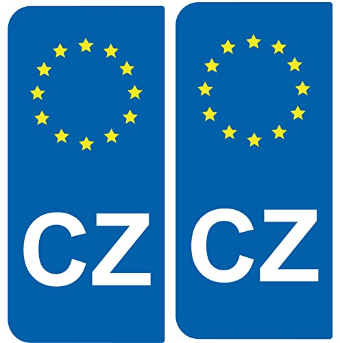 SAFIRMES Aufkleber 2-Nummernschild Auto CZ Republik tcheque- ID europäischen -