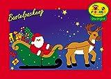 Fischer Fensterbild RENTIERSCHLITTEN / Größe ca. 98x42 cm / zum Selberbasteln / Basteln mit Pappe und Papier zu Weihnachten