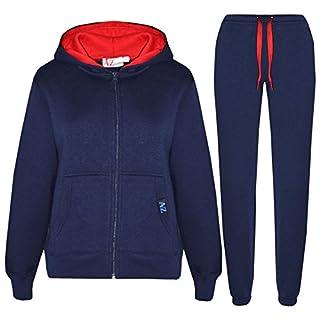 A2Z 4 Kids® Kids Tracksuit Girls Boys Contrast Fleece - T.S Contrast Trim Navy & Red 9-10