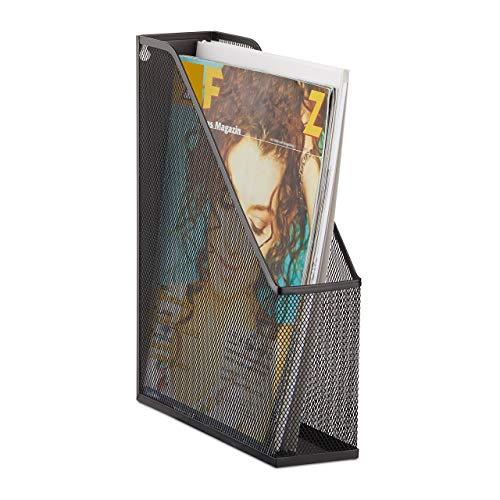 Relaxdays Stehsammler A4 Metallgeflecht, Stehordner, bis C4, Archivbox, Ösen für Wandmontage, Dokumentenablage, schwarz