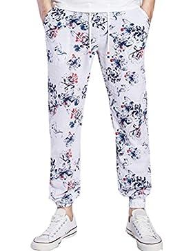 Zhhlinyuan suave Mens Men's Soft Lightweight Linen Floral Print Pants Sportswear Drawstring Waist Pants