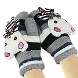 Fäustlinge mit Schnur für Kinder Mädchen Jungen Doppelschicht Winter Warm Handschuhe gestrickt Fleece Futter Winterhandschuhe Kaninchen Motiv, Grau, Kinder
