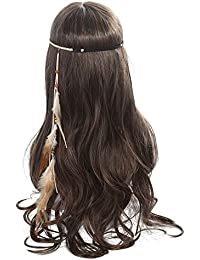 Bohemian Feather Headband Hippie Hairwear - Tassel Braided Feather Headdress Leather Rope for Women Festival Carnival