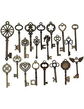 MagiDeal 20pcs Blumen Schlüssel Anhänger Träger Kettenträger Ketten Halsketten Bronze