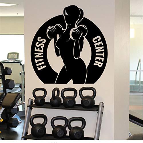 Wuyyii Fitness Center Wandaufkleber Frauen Gym Sport Vinyl Aufkleber Home Wand Kunst Dekor Ideen Innen 57X57 Cm