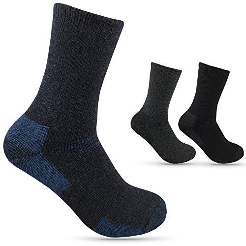 4 Paar Herrensocken THERMO Winter-socken Outdoor Arbeitssocken dick und warm mit Innenfrottee und Wollanteil (blau, 39-42)
