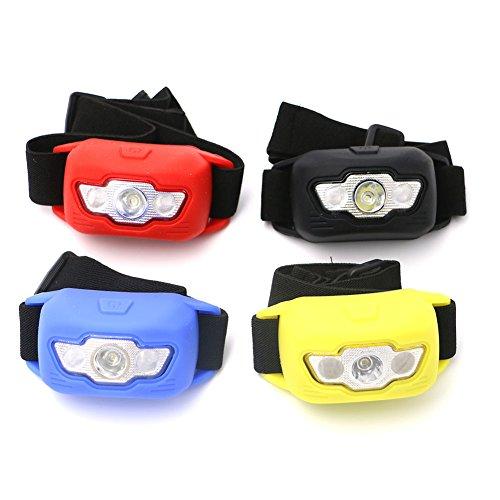 Preisvergleich Produktbild Seitor LED Kopflampe Stirnlampe LED Perfekt fürs Camping Joggen Campinglampe Aussenleuchte Vierfarbiger Gummi-Schutzdeckel 3 * AAA 3-Gang-Scheinwerfer