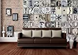 1 Wall C64P-TYPO-001 Kreative Collage 'Typografie' Fototapete, 64 Stück