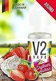 V2 Vape Erdbeer-Sahne AROMA/KONZENTRAT hochdosiertes Premium Lebensmittel-Aroma zum selber mischen von E-Liquid/Liquid-Base für E-Zigarette und E-Shisha 10ml 0mg nikotinfrei