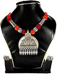Bong Ruposhi Exclusive Oxidized Traditional Designer Necklace Set For Women/Jewellery Set With Earrings For Girls...