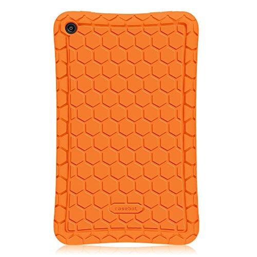 Étui Fire HD 8 2016 - Fintie [Série Honey Comb] Étui Housse Protecteur en Silicone Coque avec Léger et antichoc pour Tablette Toute nouvelle tablette Fire HD 8 (6ème Génération, 2016) Orange