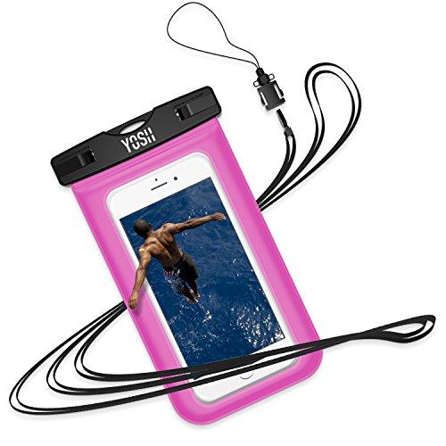 Wasserdichte Hülle Tasche Beutel Handyhülle [IPX8 Technische Zertifizierung] YOSH® für IPhone X 8 7 6 6s Plus schneegeschützt Schnorcheln Tauchen Unterwasser Fotografieren Samsung S6 S7 S8 Note LUMIA 950 Huawei BQ Aquaris HTC, bis zu 6 Zoll✪LEBENSLANGE GARANTIE✪(Rosa) (Iphone 5 Foto)