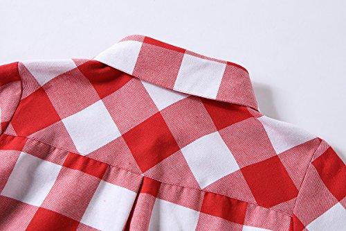 Tribear Damen Asymmetrische Langarm Oversize Hemd Button Longshirt Cardigan Top T-Shirt Kleid Rot1