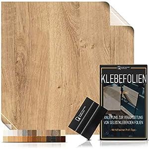 Klebefolie in Holzoptik [WUNSCHMAß - bis zu 15m AM STÜCK] inkl. Rakel & eBook I Selbstklebende Holz Folie für Möbel & Küche - hitzebeständig & abwaschbar I Ablösbare Möbelfolie Eiche rustikal