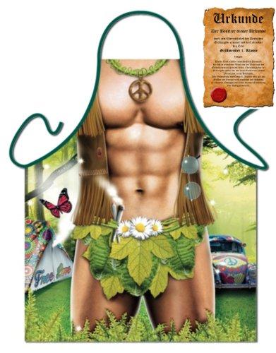 witzige und sexy Schürze Sixpack Hippie Man freie Liebe Peace Blumenkind Einheitsgröße mit Urkunde -