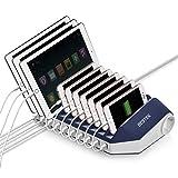 BESTEK 10 Porte USB Stazione di Ricarica 66W con Quick Charge 3.0 e 2 Prese per iPad, iPhone,Samsung Huawei Xiaomi Smartphone Tablet