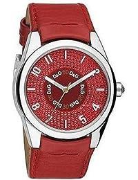 D&G Dolce&Gabbana DW0260 - Reloj analógico de mujer de cuarzo con correa de piel roja