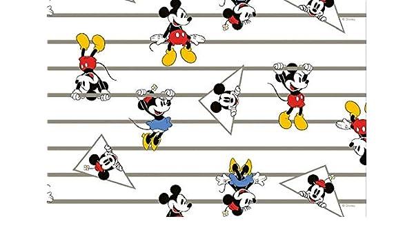 0b92e970764 MICKEY MOUSE JERSEY FABRIC - Mickey Minnie Mouse Stripe - HEM64 - Jersey  Fabric - By 0.5 Metre - 95% Cotton 5% Spandex Stretch Jersey Knit Fabric:  ...
