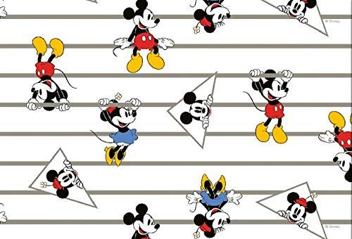 Mickey Maus Jersey Stoff - Mickey Minnie Maus gestreift - HEM64 - Jersey Stoff - 0,5 Meter - 95% Baumwolle 5% Spandex Stretch Jersey Stoff (Mickey Stoff Minnie Und)