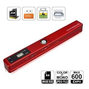HooToo-Mini Scanner portable 600 DPI avec Batterie Rechargeable Intégrée, rouge