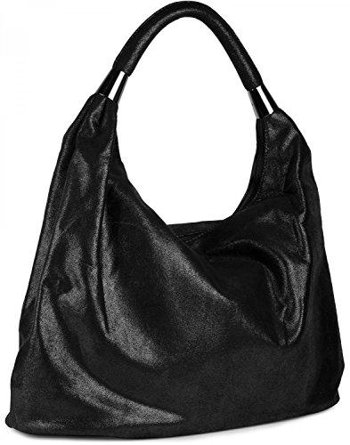 styleBREAKER Handtasche, Beuteltasche im Vintage Design, Schultertasche, Tragetasche, Damen 02012050, Farbe:Schwarz glänzend - Schwarz glänzend