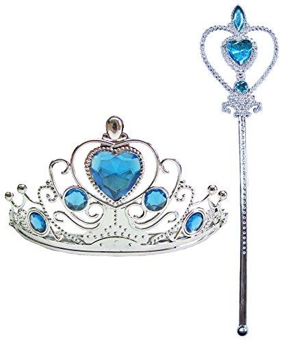 Prinzessin Krone mit Feenstab Türkis für Kinder - Zum Eiskönigin und Cinderella Kostüm