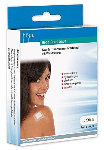 Höga Pharm Höga-Derm aqua steriler Transparentverband mit Wundauflage, 9 cm x 10 cm, wasserdicht, hypoallergen, elastisch, einzeln verpackt, latexfrei, 5 Stück