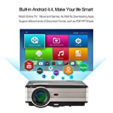 EUG Wireless LED Wifi TV Projector, LED LCD HDMI Android Video Projector 1080P, WXGA Multimedia Home Cinema Theater Projector with USB AV HDMI VGA for Laptop PC iPhone Smartphone DVD Player Xbox
