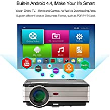 EUG Wireless LED WIFI TV proyector DVBT, LED LCD HDMI Android video proyector 1080p, WXGA Multimedia Home cine proyector con USB AV HDMI VGA para PC portátil iPhone Smartphone DVD Player Xbox PS4