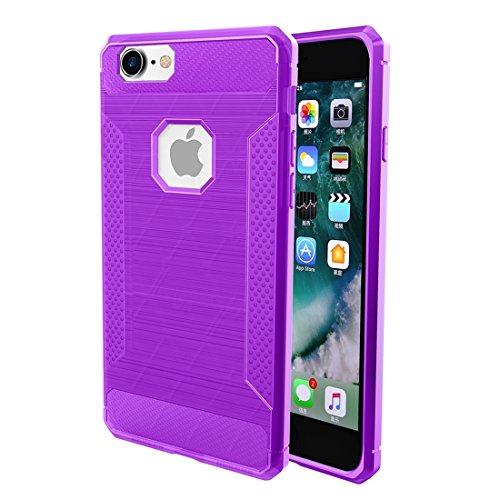 BING Für iPhone 6 / 6s, gebürsteter Carbon-Faser-Beschaffenheit Shockproof TPU schützender Abdeckungs-Fall BING ( Color : Red ) Purple