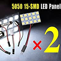 2x 15SMD bianco 5050 pannello interno mappa cupola luce + adattatore festone BA9S T10 BA15S ( Colore della luce : Bianco