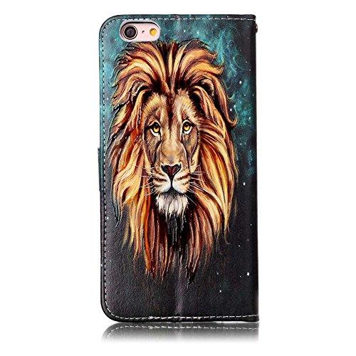 "MOONCASE iPhone 6 Plus/iPhone 6s Plus Handyhülle, [Colorful Relief Pattern] Stoßfest Ganzkörper Schutzhülle mit Ständer Leder Tasche Case für iPhone 6s Plus 5.5"" Bear Lion"