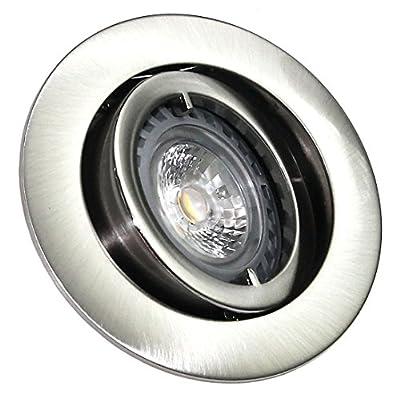 6er Set Einbaustrahler Lino + 5Watt GU10 COB LED Spot Farbe:Edelstahl gebürstet Leuchtmittel 2700K Warmweiß 5W=50Watt