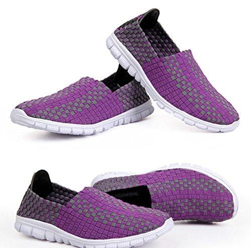 Anguang Unisexe Tressé Sandales Plates Tressé Chaussures De L'eau D'été De Marche Respirant Chaussures Pourpres Occasionnels