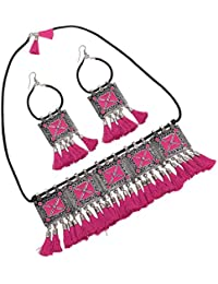 Cardinal Oxidised German Silver Brass Traditional Latest Design Chocker Necklace Pendant Set with Earrin g for Women/Girls