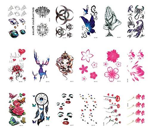 Adesivi per tatuaggi temporanei donna 18 pezzi fake art adulto gatto farfalla croce corona elefante armi gambe posteriori