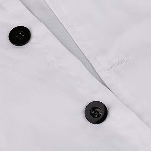 P Prettyia 2x Unisex Atmungsaktive Kochjacke Bäckerjacke mit Knöpfe Koch Arbeitsjacke Kochhemd Küche Arbeitskleidung XL - 4