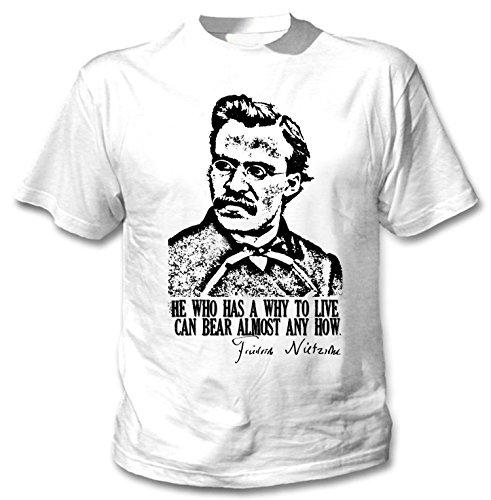 Teesquare1st Men's Friedrich Nietzsche White Tshirt