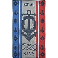 Casa Ydeal Store Toalla de Playa 100cm x 160cm Royal Navy (Rojo)